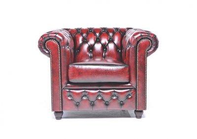 Chesterfield Sessel Original Leder   Antik Rot   12 Jahre Garantie