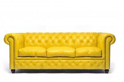 Chesterfield Sofa Original Leder   3-Sitzer   Gelb   12 Jahre Garantie