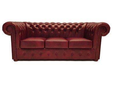 Chesterfield  Sofa First Class Leder |3- Sitzer| Cloudy Rot | 12 Jahre Garantie